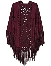 Women's Suedette Laser Cut Fringed Cape Shawl Triangle Wrap Scarf