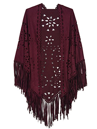 CHOiES record your inspired fashion Women's Choies Women's Suedette Laser Cut Fringed Cape Coat Shawl Wrap Scarf
