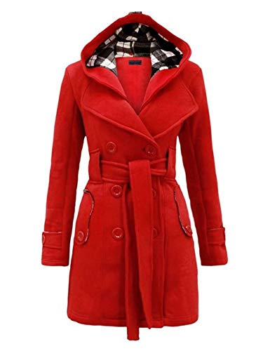 (Sexyshine Women's Winter Warm Fleece Check Plaid Hooded Coat Double Breast Belted Duffle Jacket(RE,2XL))