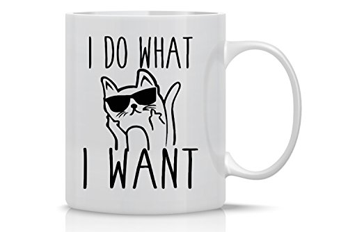 I Do What I Want - 11oz White Ceramic Coffee Mug - Perfect Gift for Cat Mom or Dad Lovers - Funny Crazy Grumpy Cat Lover Mugs - By CBT Mugs