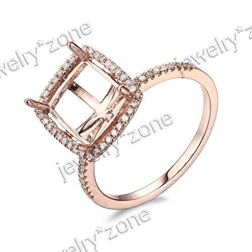 (FidgetKute 14K Rose Cushion/Emerald Cut Semi Mount Engagement Jewelry Ring)