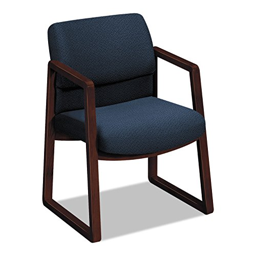 HON 2403 Sled Base Guest Arm Chair - Fabric Blue Seat - Upholstery Back - Hardwood Mahogany Frame - 24quot; x 25.5quot; x 32.5quot; Overall Dimension