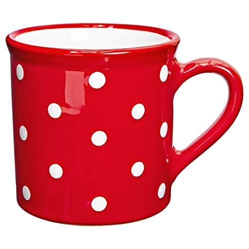 Handmade Red and White Polka Dot Ceramic Extra Large 17.5oz/500ml | Hot Chocolate, Coffee, Tea Mug, Cup with Handle Unique Designer Pottery Gift for Tea Lovers by City to Cottage
