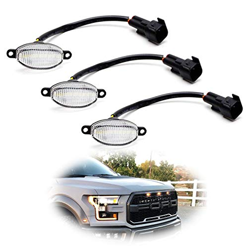 Raptor Oem Parts - iJDMTOY (3) Clear Lens Amber LED Grille Running Lights For 10-14 & 17-up Ford Raptor (Powered by 36 Pieces of SMD LED Lights)