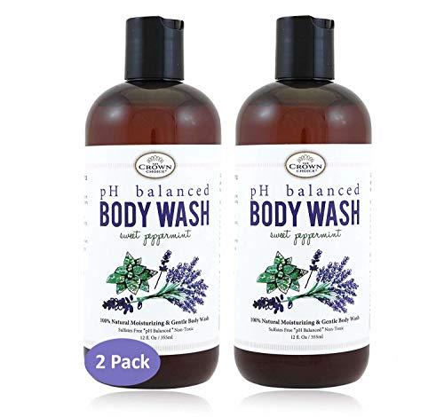(100% Natural Vegan Liquid Bath Soap (2PK) | pH Balanced Body Wash for Sensitive Skin | Naturals Non Toxic Shower Gel for Men Women | Aloe, Spearmint, Lavender, Manuka)