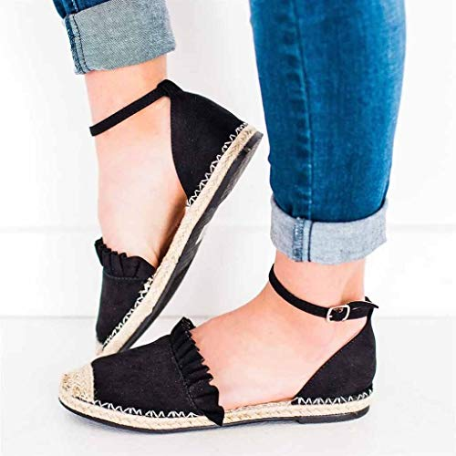 Woven Flats Shoes Women On Sale Clearance,melupa Fashion Retro Flat Casual Shoes Straw Linen Buckle Ruffle Pumps Ladies ()