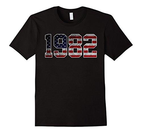 1982 Flag (Mens 1982 American Flag T-shirt 35th Birthday Gifts XL Black)