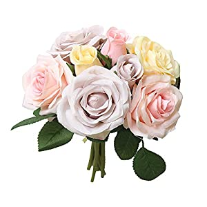 Quaanti 8 Heads Artificial Fake Flowers Artificial Roses Bridal Wedding Bouquet for Home Garden Party Wedding Decoration (Multicolor) 98