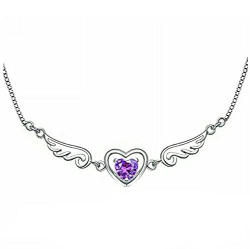 FOGLE'S Sterling Silver Angel Wings Purple Heart Pendant Necklace for Women with Free Black & Gold Gift Bag Jewelry for Women