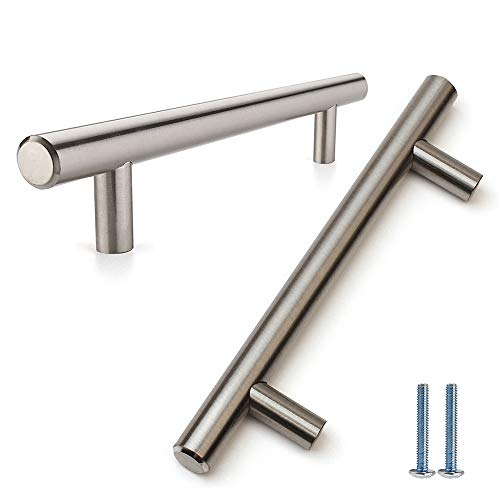 Brushed Satin Nickel T Bar Cabinet Hardware, Furniture Drawer Euro Bar Pull Handle for Kitchen Cupboard Bathroom Bedroom Dresser- 3 inch (76mm) Hole Centers, 10 Packs