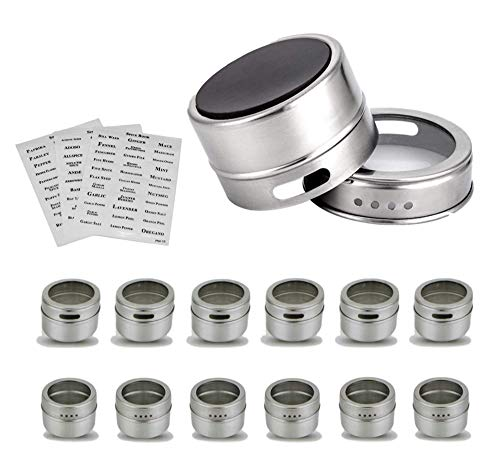 - Citrus Pantry 12 Magnetic Spice Containers, Herb & Spice Rack Tins for Refrigerator, Grills, or Metal Walls, Strongest Stainless Steel Magnet Canisters & With Shaker Lids