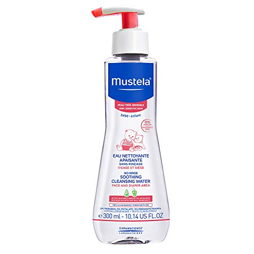 Mustela No-rinse Soothing Cleansing Water, Micellar Water Cleanser for Baby