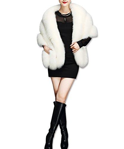 Mujer Chaquetas Sintética De Kaxidy Capas Abrigo Ropa Ponchos Blanco Piel Tx4n8Udn