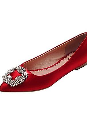 PDX/Damen Schuhe Satin flach Ferse Ballerina/spitz/geschlossen Zehen Wohnungen Büro/Kleid/Casual rot/champagner, - champagne-us6 / eu36 / uk4 / cn36 - Größe: One Size
