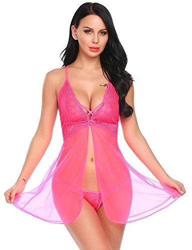 7c9b8088c HITSAN Lingerie hot Erotic Sleepwear Babydoll Dress Women Open Front Lace  Sex Night Sleep wear Nightwear Costumes Rosa Red XL  Amazon.in  Clothing    ...