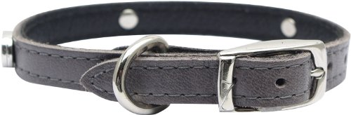 Gray Dog Charm (Dogit Leather Style Dog Collar with Buckle and Pewter Flower Charm, 12-Inch,Gray)