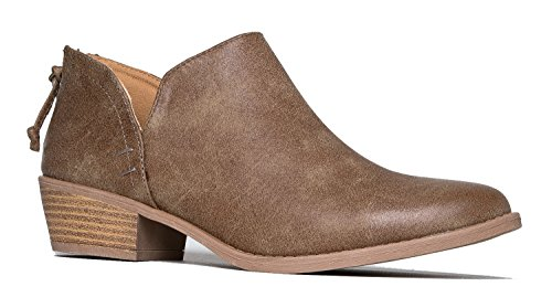 Cute Western Cowboy Bootie - Womens Pointed Toe Slip on Ankle Boot - Zip Up Low Heel - Levi by J. Adams,Taupe Pu,7 B(M) US