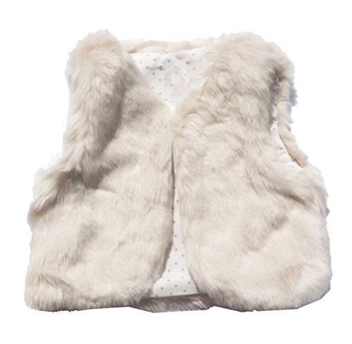 Infant Baby Girls Faux Fur Vest Outerwear Off White -
