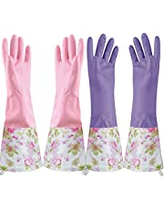 KINGFINGER Rubber Latex Waterproof Dishwashing Gloves,Long Cuff and Flock Lining Household Cleaning Gloves 2 Pair Large