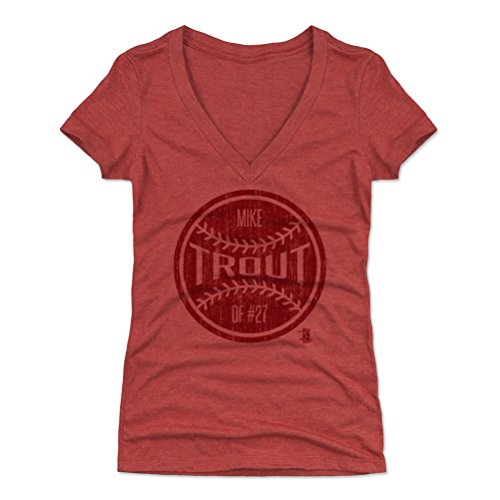 500 LEVEL Mike Trout Women's V-Neck Shirt X-Large Tri Red - Los Angeles Baseball Women's Apparel - Mike Trout Ball R