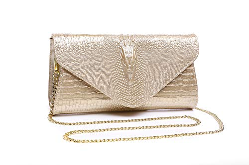 Bidear Envelope Clutch Purse Genuine Leather Party Handbag Evening Bags for Women (Leather-Gold) ()