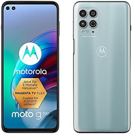 Motorola moto g100 (6,7″ – Display, 64-MP-Kamera, 8/128 GB, 5000 mAh, Android 11) Magic Weiss, inkl. Docking-Station + TV-Now-Gutschein [Exkl. bei Amazon]