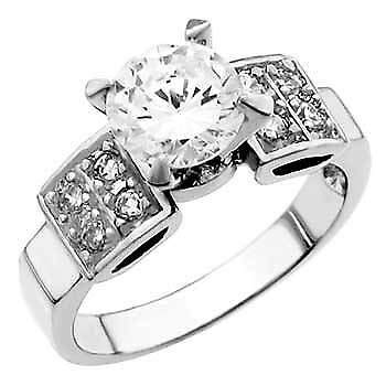 8 Womens 925 Sterling Silver Cubic Zirconia Round 7mm Ring