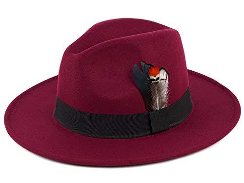 Men Fedora Hat with Feather Unisex Classic Manhattan Indiana Jones Hats Wine Red]()