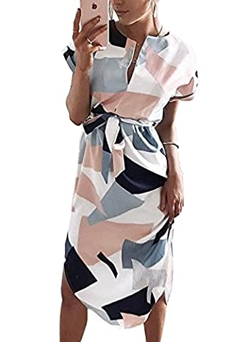 Hegeo Womens Summer V-Neck Floral Printed Casual Slim Geometric Pattern Dress (Dresses With Geometric Pattern)