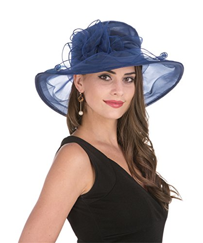 SAFERIN Women's Kentucky Derby Sun Hat Church Cocktail Party Wedding Dress Organza Hat Two Tone Color (Navy with Sapphire Blue Line) by SAFERIN