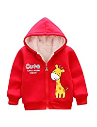 Tenworld B Baby Boy Girls Winter Coat with Hooded Thick Warm Fleece Jacket Outerwear