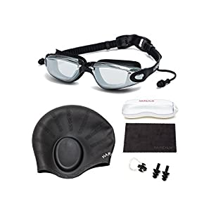 HAIREALM Myopia Swimming Goggles(Prescription 1.5-8.0 Diopters) +Swimming cap+Case+Nose Clip and Ear Plugs+Dry Cloth, Anti-Fog UV Protection for Adult Men Women Youth Kids (Black -4.5)