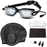 HAIREALM Myopia Swimming Goggles(Prescription 1.5-8.0 Diopters) +Swimming cap+Case+Nose Clip and Ear Plugs+Dry Cloth, Anti-Fog UV Protection for Adult Men Women Youth Kids (Black -2)