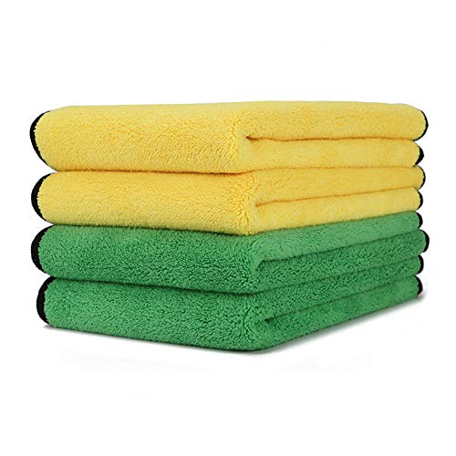 Microfiber Cleaning Cloths HONMAY 4 Pack Ultra-Thick Microfiber Drying Towel Ultra Soft Dual-Pile Plush Auto Detailing Towels Polishing Cloth 800GSM 12 in. x 16 in.