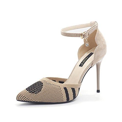 Verano Una Fino Tacón GAOLIM Cabeza De Palabra Sandalias De Tacón Desnudo Tacón Zapatos Fuerte Y De Albaricoque Alto De Y Hueca Zapatos Tejidos p0fvq