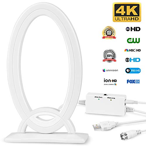 Indoor Digital TV Antenna, HDTV Antenna Signal Amplifier Booster Multiple Direction 80-120 Miles Support 4K 1080P HD 16ft Coax Cable USB Power Supply Adapter ()