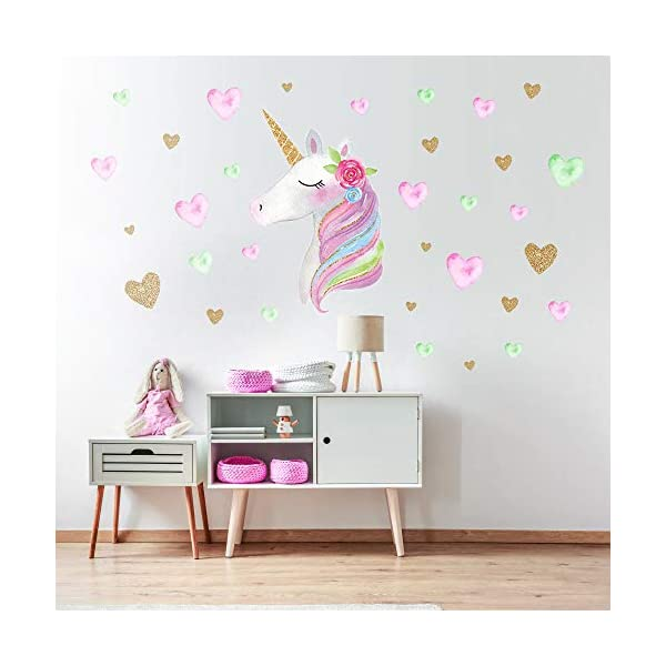 SONG'S IDEA Large Size Unicorn Wall Decal,2Packs,Unicorn Wall Sticker Decor with Hearts and Stars for Girls Rooms Baby… 8