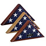 Veteran Flag Dispay Case - Oak & US 5' x 9.5' Cotton Memorial Flag