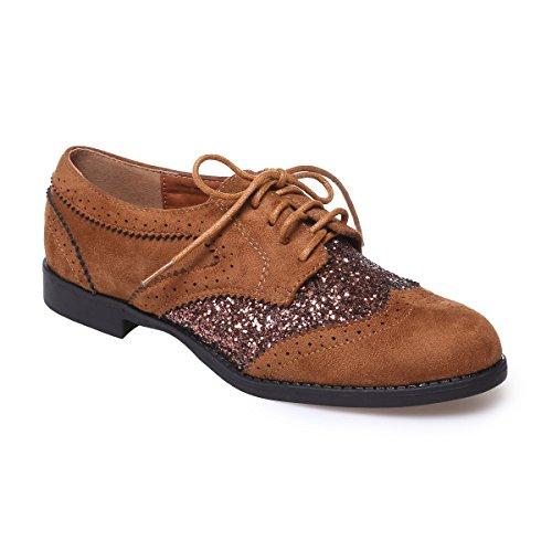 La Modeuse - Zapatos de cordones para mujer marrón claro