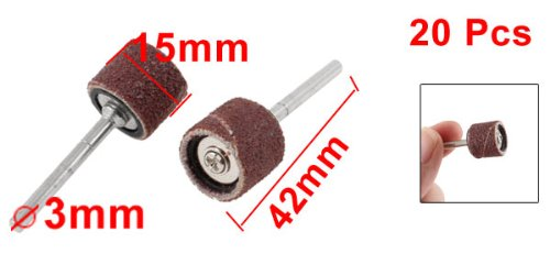 uxcell 20 Pcs 3mm Diameter Shank 15mm Emery Cloth Grinding Heads Silver Tone Red