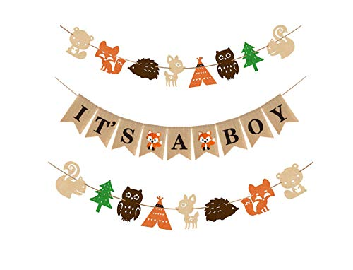Woodland Themed Baby Shower Party Supplies and Decorations For Boys,1 It's A Boy Rustic Burlap Banner,2 Fox Deer Forest Animal Garland,Country Shower Nursery Favors and Decor,Natural Baby Boy Room Decor - Natural Baby Shower Favors