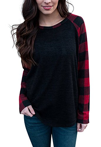 Plaid Top Hat (Byoauo Womens Plaid Shirts Long Sleeve V Neck Tops Blouse)