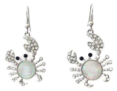 Crab Iridescent Foil Rhinestone Silver Tone Dangle Earrings (White)
