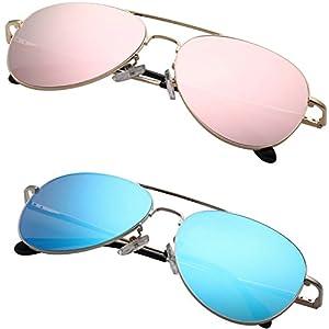 PUKCLAR Mens Womens Aviator Mirrored Lens Polarized sunglasses Metal Frame UV400 Protection pk2000 … (C9 (2-Pack) Pink & Blue)