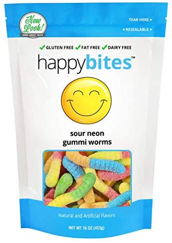 - Happy Bites Sour Neon Gummi Worms - Gluten Free, Fat Free, Dairy Free - Resealable Pouch (1 Pound)