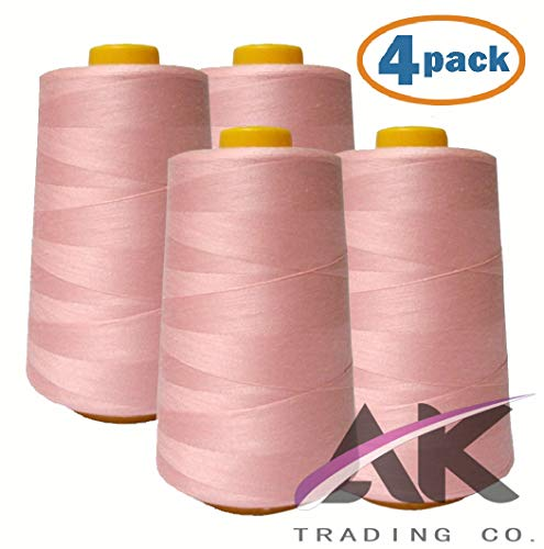 AK Trading 4-Pack Pink All Purpose Sewing Thread Cones (6000 Yards Each) of High Tensile Polyester Thread Spools for Sewing, Serger Machines, Quilting, Overlock, Merrow and Hand Embroidery
