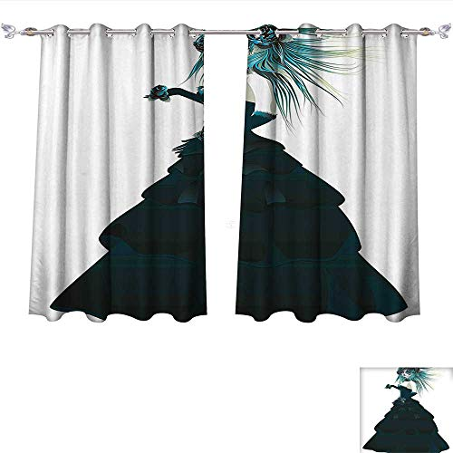 3ccf573d0ce Qinqin-Home Window Curtain Fabric Sugar Skull Girl with Prom Dress Roses in  Hand Gothic