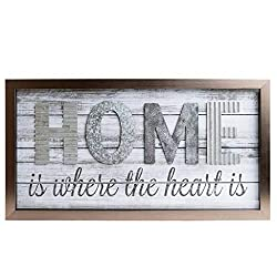 Home is Where the Heart is Metal and Wood Plank Wall Art Décor