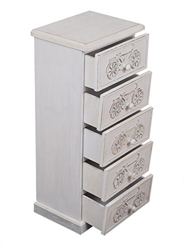 Christmas Gifts Wooden Armoire Storage Small Chest of 5 Drawers 26 Inches Long Furniture Bicycle Design Jewelry Trinkets Makeup Tools Accessories Holders Boxes White Distressed Finish by Store Indya