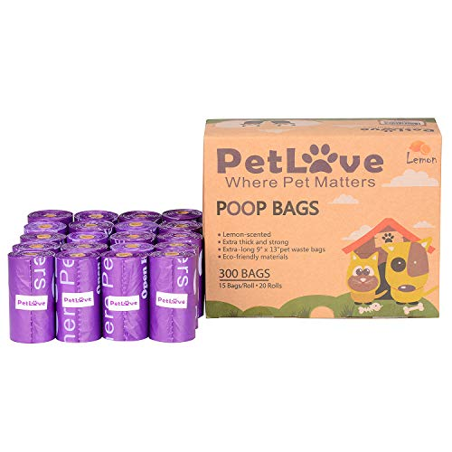 PetLove 300-Count Durable EPI Biodegradable Environment-Friendly Dog Poop Bags, Scented Poop Bags for Dogs, Dog Waste Bag, (15 Bags/Roll, 20 Rolls) - (No Dispenser Included) - Purple-Lemon